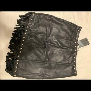 NBD Skirts - Genuine leather REVOLVE NBD fringe skirt